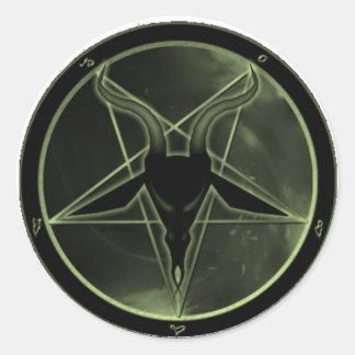 Pentagram verde pegatina redonda