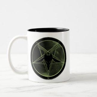 Pentagram verde taza de café de dos colores