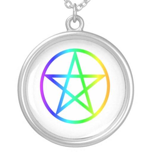 Pentagram vertical del arco iris colgante redondo