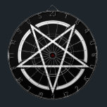 "Pentagram (white) No.1 Dartboard<br><div class=""desc"">pentagram,  symbol,  emblem,  black metal,  metal,  pagan,  dark,  death,  doom,  sludge,  corpse paint,  satan,  lucifer,  church of satan,  evil,  devil,  baphomet,  hail satan,  headbanger,  antichrist,  music,  festival,  witchcraft,  paganism,  odin,  viking,  power metal</div>"