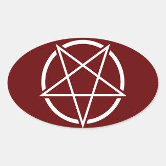 Pentagram (white) No.1 Oval Sticker