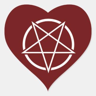 Pentagram (white) No.1 Heart Sticker