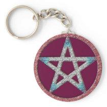 Pentagram Wiccan Witch Key Chain Fob Keychain