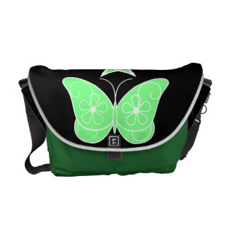 Pentagram With Butterfly Green Messenger Bags