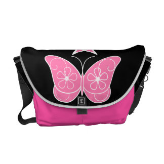 Pentagram With Butterfly Pink Courier Bags