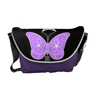 Pentagram With Butterfly Purple Courier Bag