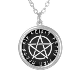 Pentagram with runes round pendant necklace