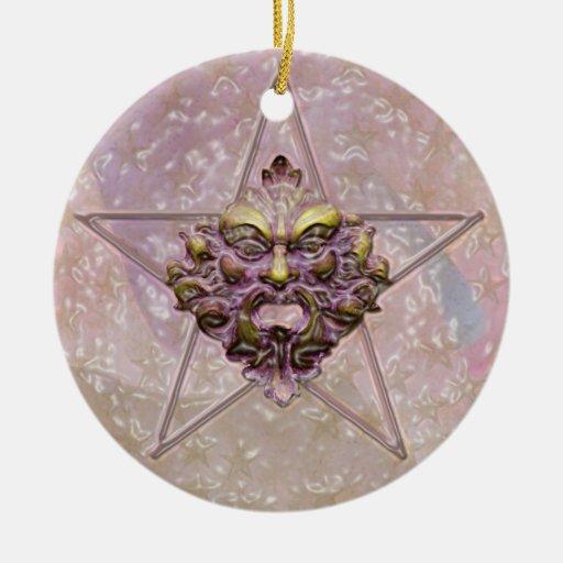 Pentagram y escultura #2D del hombre verde Ornamento Para Reyes Magos