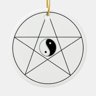 Pentagram Yin Yang black Ceramic Ornament
