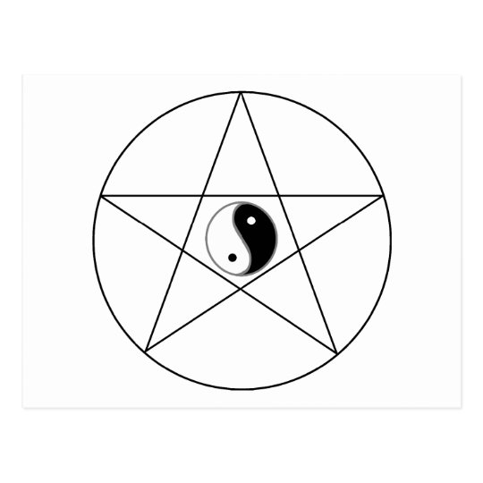 Pentagram Yin Yang black Postcard