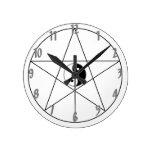 Pentagram Yin Yang black Round Clock