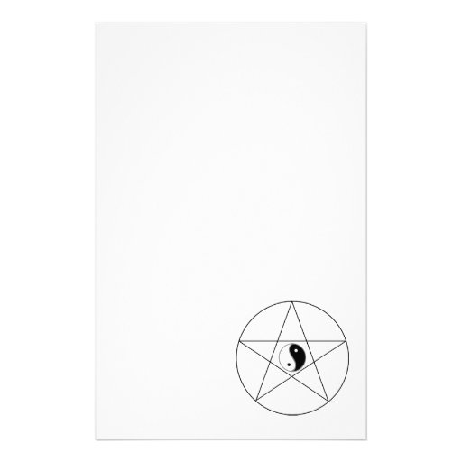 Pentagram Yin Yang black Stationery