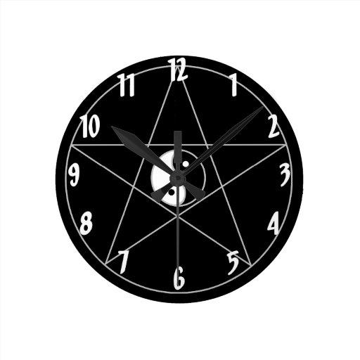 Pentagram Yin Yang white Round Clock