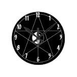 Pentagram Yin Yang white Wall Clocks