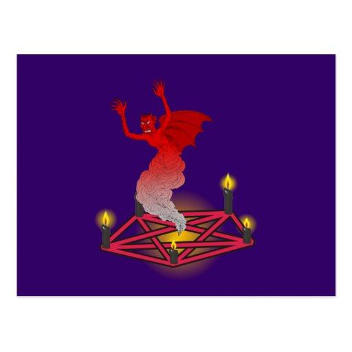 Pentagramm demonio diablo conjuro tarjeta postal