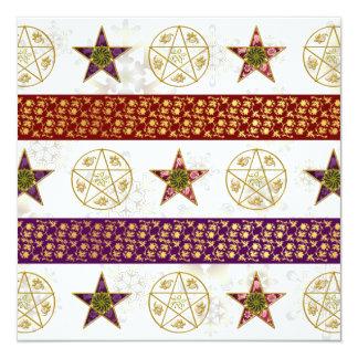 """Pentagrams y copos de nieve - tarjeta de Yule de Invitación 5.25"""" X 5.25"""""""