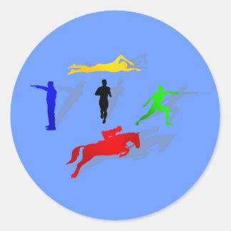 Pentathlon Fencing Shooting Swimming Jumping Run Classic Round Sticker