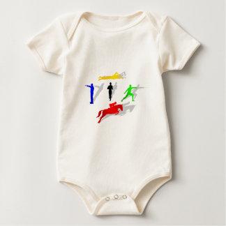 Pentathlon Fencing Shooting Swimming Jumping Run Baby Bodysuit