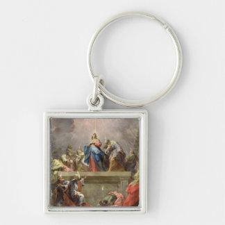 Pentecost, 1732 Silver-Colored square keychain