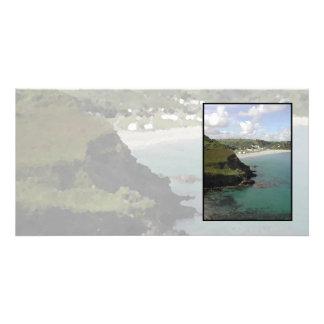 Pentewan. Cornwall. Scenic coastal view. Card