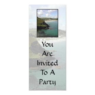 Pentewan. Cornwall. Scenic coastal view. 4x9.25 Paper Invitation Card