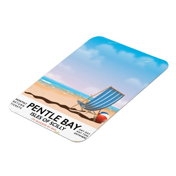 Pentle Bay Isles of Scilly travel poster Magnet
