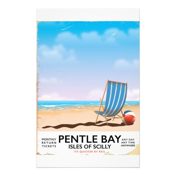 Pentle Bay Isles of Scilly travel poster Stationery