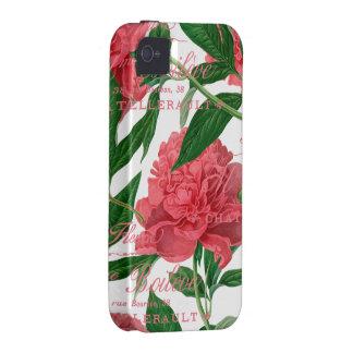 Peonias rosas tallos verdes estilo vintage iPhone 4 funda