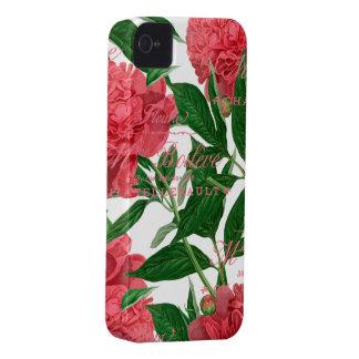 Peonias rosas tallos verdes estilo vintage iPhone 4 protectores