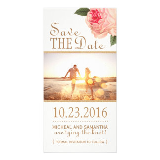 Peonie and Gold Glitter Save the Date Photo Cards