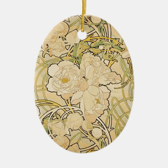 Peonies 1897 ceramic ornament