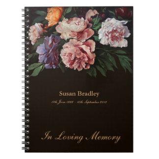 Peonies 1 conmemorativos o libro de visitas spiral notebook