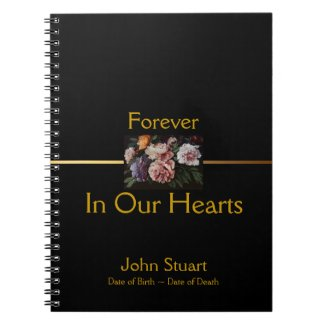 Peonies 2 - Memorial or Funeral Guest Book Spiral Note Books