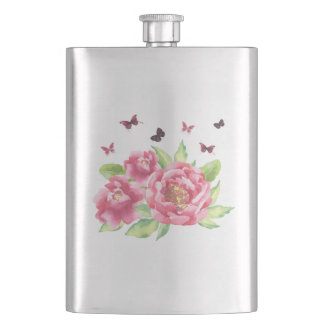Peonies and Butterflies Flask