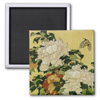 Peonies and Butterfly 2 Inch Square Magnet