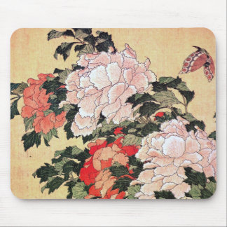 Peonies and Butterfly Hokusai Mouse Pad