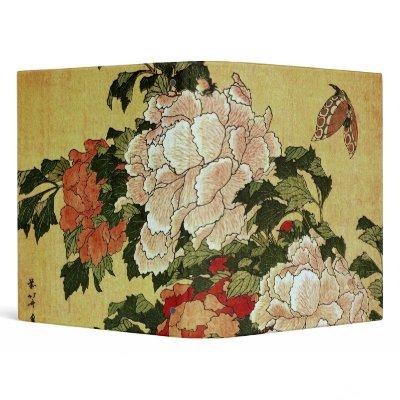 Peonies and Butterfly, Katsushika Hokusai Vinyl Binder