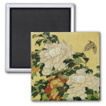 Peonies and Butterfly Refrigerator Magnet