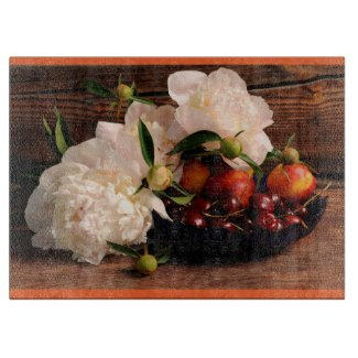 Peonies and Fruit Bowl Large Glass Cutting Board