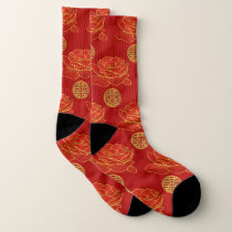 Peonies and Gold Double Happiness Symbol Pattern Socks