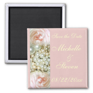 Peonies and Pearls 2 Inch Square Magnet