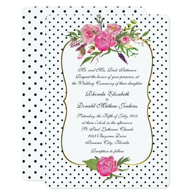Peonies and Polka Dots Wedding Invitation