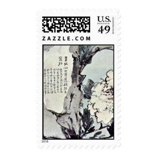 Peonies And Rocks By Kao Feng-Han (Best Quality) Postage Stamp