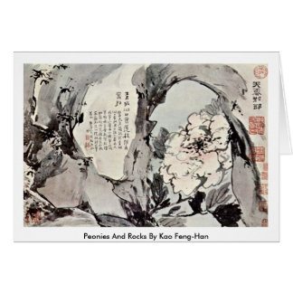 Peonies And Rocks By Kao Feng-Han Greeting Card