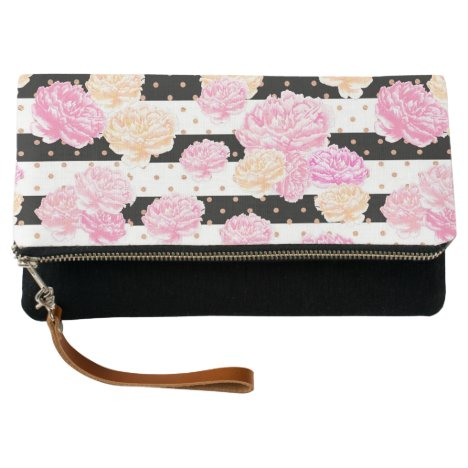 Peonies and Stripes Clutch