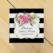 Peonies and Stripes Wedding Favor Gift Box