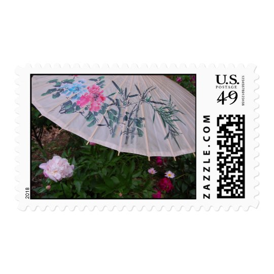 Peonies and Umbrella Stamp