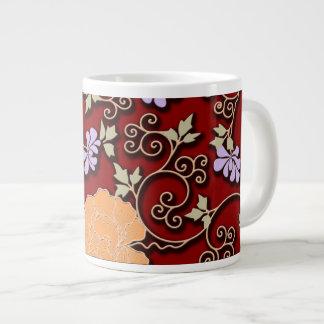 Peonies arabesque on dark red giant coffee mug