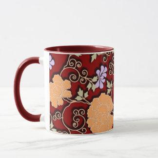 Peonies arabesque on dark red mug