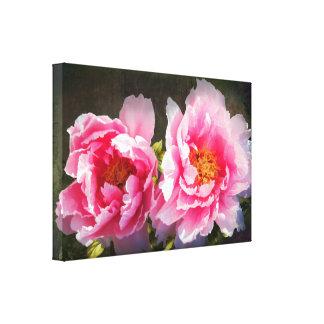 Peonies ausentes, rosados secretados impresión en lona